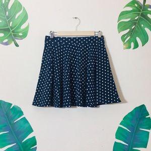 Navy Blue Polka Dot Skater Skirt